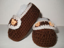 Hand Knitted / Crochet Gorgeous Baby Boys Loafer Style Booties/ Shoes 3 sizes
