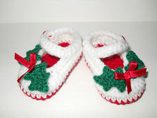 Handmade Crochet / Knit Adorable girls Christmas Shoes / Booties 4 sizes