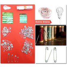 NEW SAFETY PINS & NEEDLE SET- Sewing Tools Crafts Metal Reels Threader Clothes
