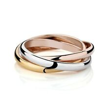 Women's Three-Color Tri-Color Ring Trio Rolling Engagement Wedding Band Jewelry