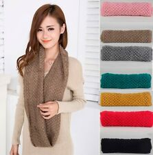 Winter Women Girl Warm Infinity 2 Circle Cable Knit Cowl Neck Long Scarf Shawl