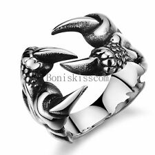 Men's Silver Stainless Steel Dragon Claw Vintage Gothic Biker Ring Size 7-10