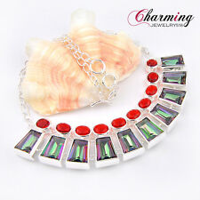 HUGE ! TOP Beautiful Rainbow Mystical Fire Topaz Gemstone Silver Chain Necklace