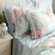One Piece Shabby and Elegant New Blue Cotton Roses Matching Pillowcase 1105