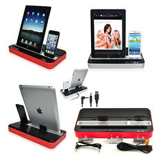 Red/Silver Multi-Function Charger Dock Station Speaker For iPad Mini iPhone 5 4s