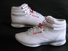 REEBOK EASYTONE FREESTYLE HI TOP WHITE LEATHER TRAINERS BOOT Size 7.5   8.5
