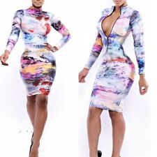 Women Sexy Bodycon Bandage Pencil Dress Party Evening Clubwear Dress Long Sleeve