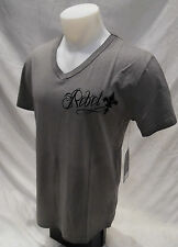 Rebel Spirit Mens V Neck Shirt Gray Eagle Shield Black Flock M L XL 2XL 3XL NWT