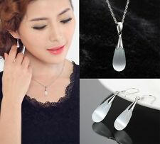 fashion 925Sterling Silver lady necklace pendant earrings cat's eye stone vogue