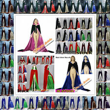 Christmas Velvet Hooded Cloak Halloween Cape Coat Wedding Shawl In Stock S-XXL