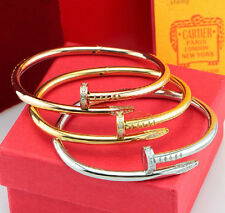Fashion Top CZ Stainless Steel Nail Design Twisted Womens Cuff Bangle Bracelet