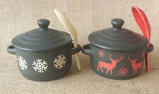 Christmas Lidded Soup Bowls with Spoon & Lid Snowflake or Reindeer Handles Gift