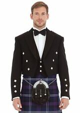 Mens New Scottish Formal 100% Wool Prince Charlie Jacket and Waistcoat Vest