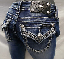 Miss Me Jean Crystal Stone Jewels Sequins Boarder White Stitch Blue Straight Leg
