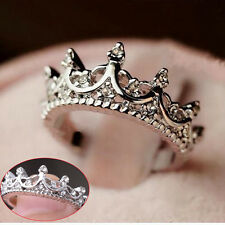 New Silver Korea Elegant Queen Crown Clear Rhinestone Lady Ring Jewelry Gift HOT