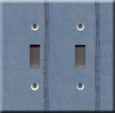 Light Switch Plate Cover - Blue jeans faux finish - Clothing pants mode fashion