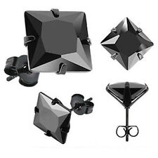 MENS / WOMENS STAINLESS STEEL WITH BLACK CUBIC ZIRCONIA STUD EARRING - 8 SIZES