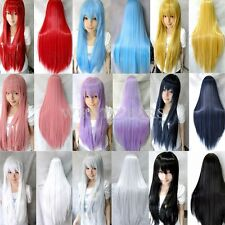 80cm Long Straight Cosplay Fashion Wig Multicolor heat resistant Full Wigs GBW