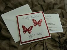 NEW Day Sidefold Wedding Invitations - glitter sparkly Butterfly butterflies *