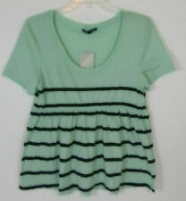 Urban Outfitters $34 Truly Madly Deeply Green Striped Baby Doll Tunic Top M