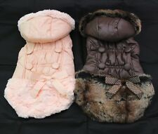 Pink/Brown Winter dog warm Jacket coat Buttons&bow, pet puppy Hoody clothes