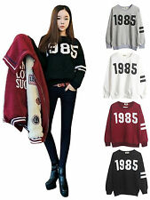 Women Casual Vintage 1985 Number Print Long Sleeve Crew Neck T-shirt Tops Blouse