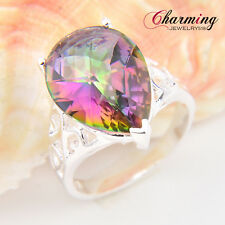 Beautiful Water Drop Rainbow Fire Mystical Topaz Gemstone Silver Ring Sz 7 8 9