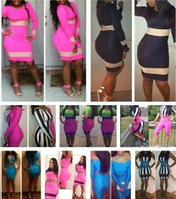 New Sexy Womens Clubwear Cocktail Evening Party Bandage Bodycon Patchwork Dress