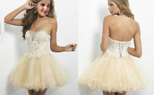 Champagne Homecoming Dresses Short Dress Beaded Prom Ball Evening Dress