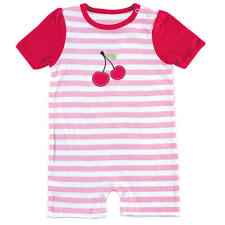 Hudson Baby Girls Pink Striped Romper with Cherry Applique