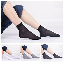 2 Pairs Men's Thin Ankle Socks Breathable Bamboo Fiber Casual Sports Dress Socks