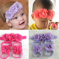 Colorful Foot Flower Barefoot Sandals + Headband Set for Baby Infants Girls