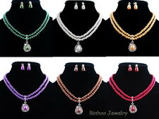 Elegant Wedding Jewellery Set White Pearl & Crystal Chain Necklace Earrings NEW