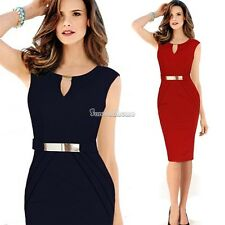 Young Lady Cocktail Bodycon Sleeveless Dress Keyhole Tunic Wear To Work Business