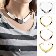 Women's Fashion Love Heart Domed Stainless Steel Choker Collar Necklace Jewelry