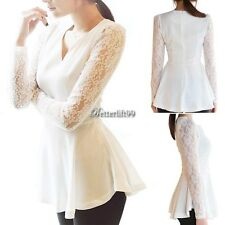 White Women Long Sleeve Lace Chiffon Shirt Flared Blouse Top Sexy T-shirt  BF9