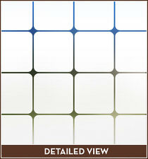 Modern Squares Etched Privacy Stained Glass Window Film Adhesive-Free Cling