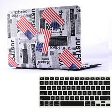 2in1 USA Flag PU Leather Hard Case Bottom Cover for MacBook AIR 11/ PRO 13 15""