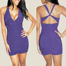 Sexy Sleeveless Crossover Night Party Clubwear Mini Dress co9752 Deep Lavender