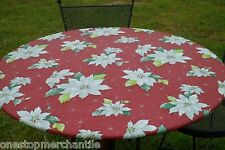 NEW CHRISTMAS POINSETTIA Round Vinyl Fitted Dining Tablecloth Patio Picnic Cover