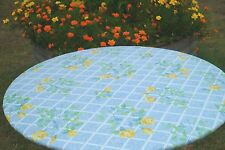NEW CLIMBING YELLOW ROSE Round Vinyl Fitted Dining Tablecloth Patio Picnic Cover