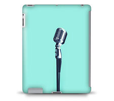 Retro Microphone on Teal Tablet Hard Shell Case for iPad, Kindle, Samsung Gala..