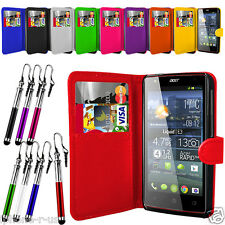 Leather Wallet Flip Mobile Phone Case Cover For Acer Liquid E3