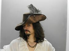 Musketeer leather hat (Brown ) pirate larp sca renaissance fair medieval feather