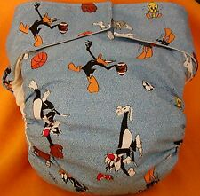 All In One Adult Baby Reusable Cloth Diaper S,M,L,XL Bugs, Daffy & Sylvester