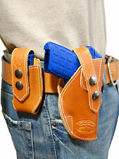 NEW Barsony OWB Tan Leather Holster + Mag Pouch Colt Small 380 Ultra-Compact 9mm