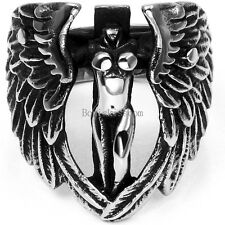 Male Vintage Silver Stainless Steel Goddess Angel w Wings Men's Ring Size 7-14