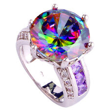 Huge 20ct 14mm Rainbow Topaz Amethyst Sapphire Silver Ring Size 6 7 8 9 10 11 12