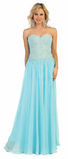 Fancy Long Strapless Lace Applique Chiffon Dress Homecoming Formal Engagement