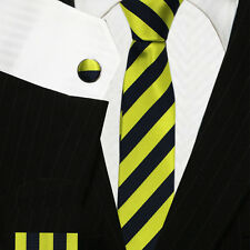 Green Yellow & Black Striped Skinny Ties | High Quality College Neckties